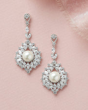 Silver CZ & Pearl Wedding Day Statement Earrings