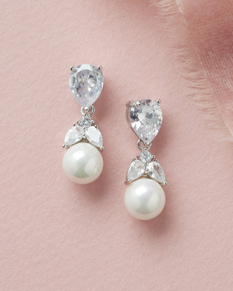 Silver Floral Crystal & Pearl Drop Bridal Earrings