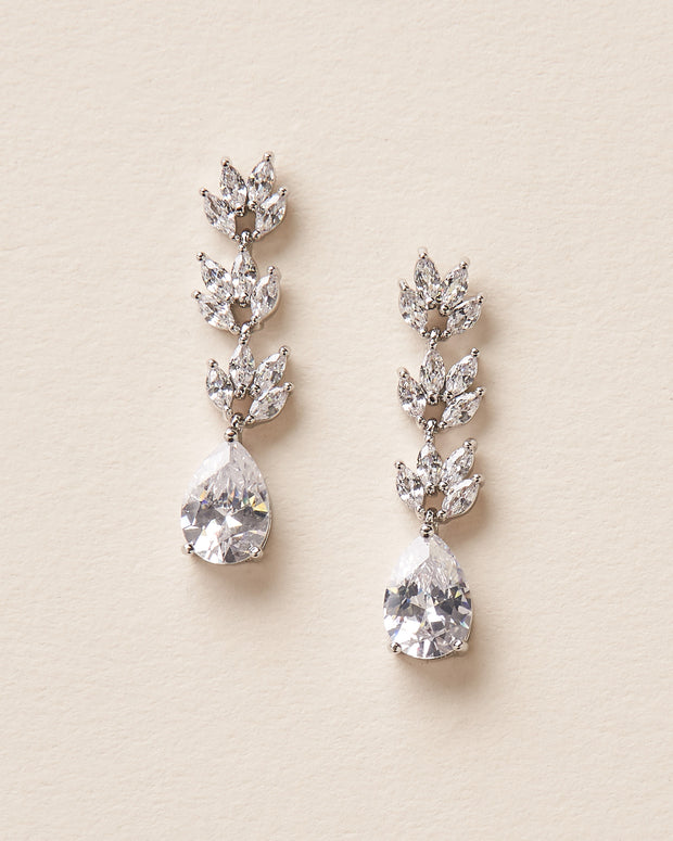 Silver CZ Floral Drop Wedding Earrings