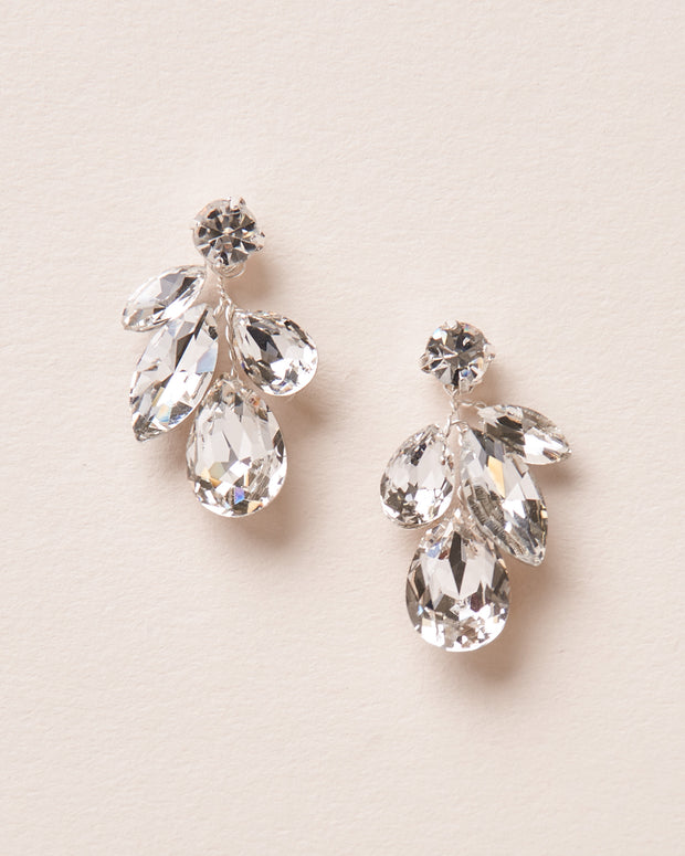 Silver Crystal Drop Bridal Earrings