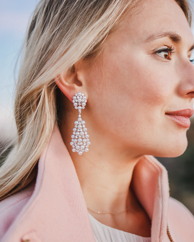 Pearl CZ Drop Earrings