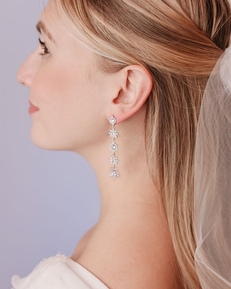Silver Floral Drop Bridal Earrings