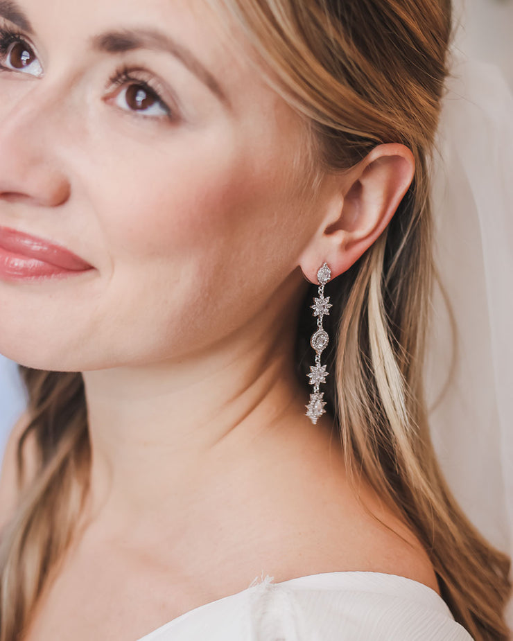 Silver Floral Drop Wedding Earrings