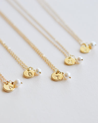 Initial Necklaces with Pearls