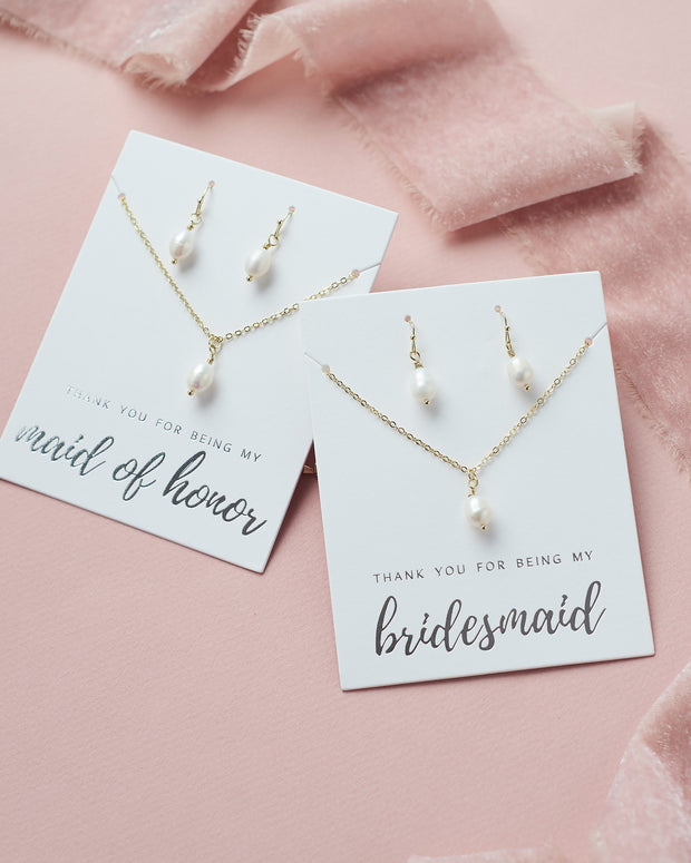 Pearl Drop Bridesmaid Jewelry