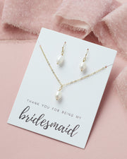 Gold Bridesmaid Pearl Jewelry