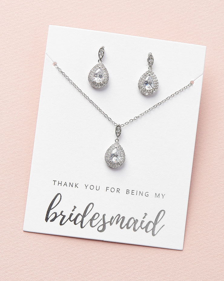 Silver CZ Bridesmaid Jewelry Set