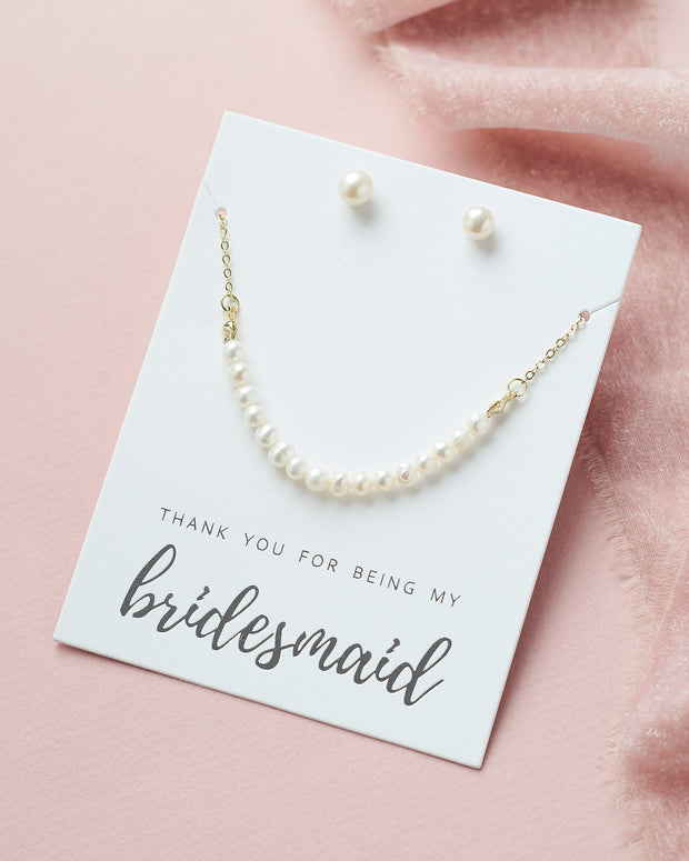 Pearl Bridesmaid Jewelry Gold