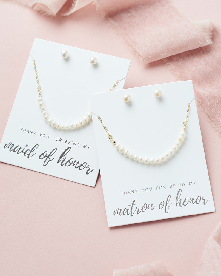Modern Freshwater Pearl Bridesmaid Jewelry Set