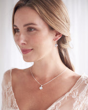 Silver Crystal & Opal Gemstone Bridal Jewelry Set