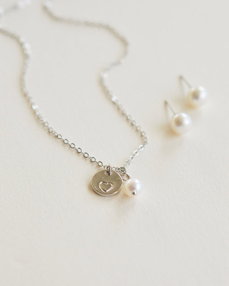 Engraved Heart Necklace & Earring Set