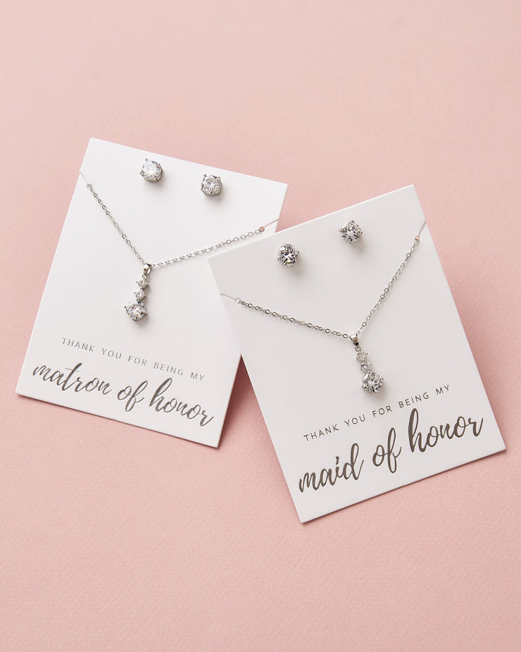 Silver CZ Drop Maid of Honor Pendant Set