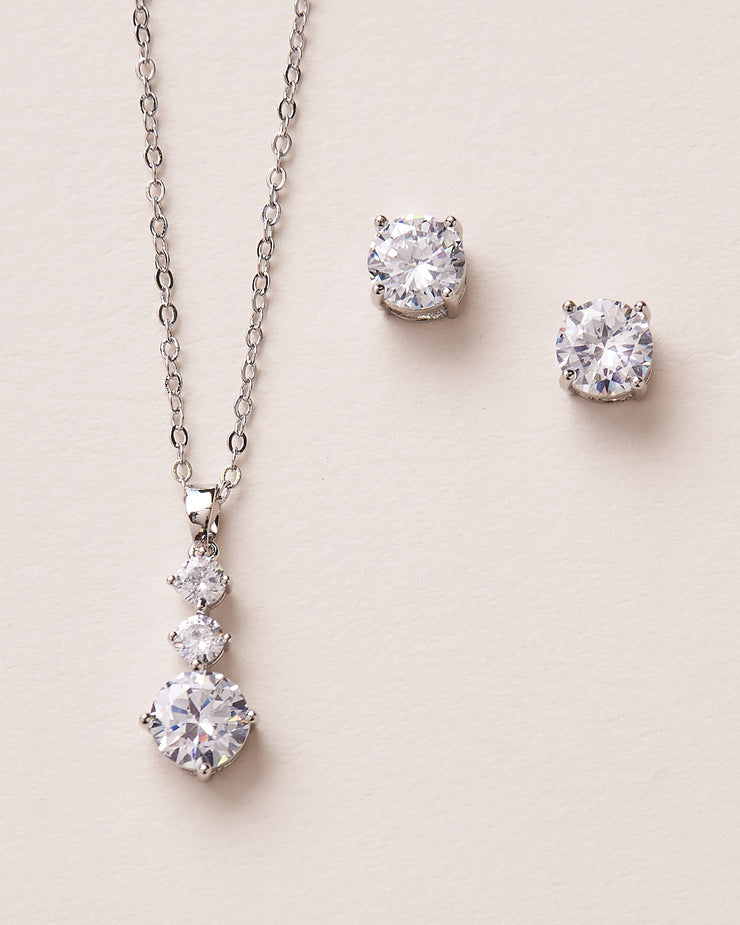 Silver CZ Drop Bridal Jewelry Set