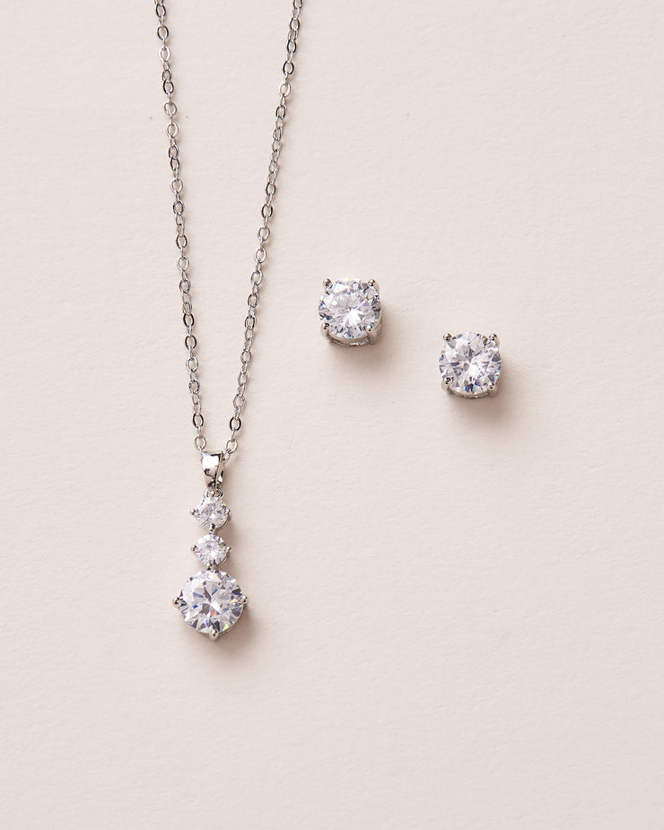 Silver CZ Drop Wedding Jewelry Set