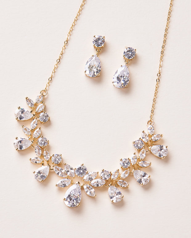 Gold CZ Wedding Jewelry Set