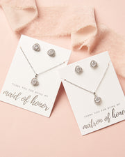 Silver CZ Maid of Honor Jewelry Set