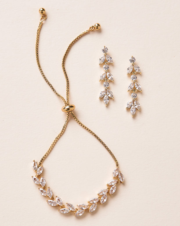 Gold Floral CZ Bracelet & Earrings Set