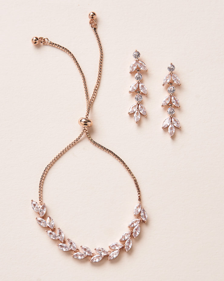Rose Gold Floral CZ Earrings & Bracelet Set