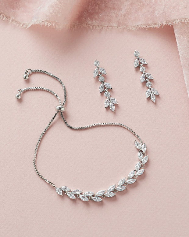 Silver Floral CZ Bridal Earrings & Bracelet Set