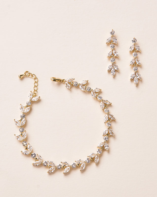 Gold CZ Bracelet and Earings