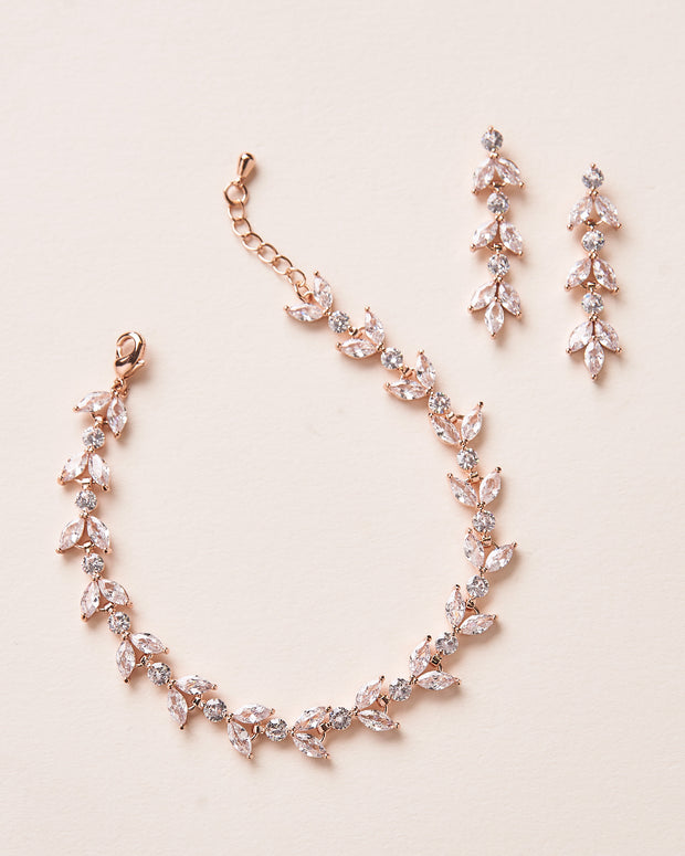 Rose Gold Earrings and Bracelet Bride