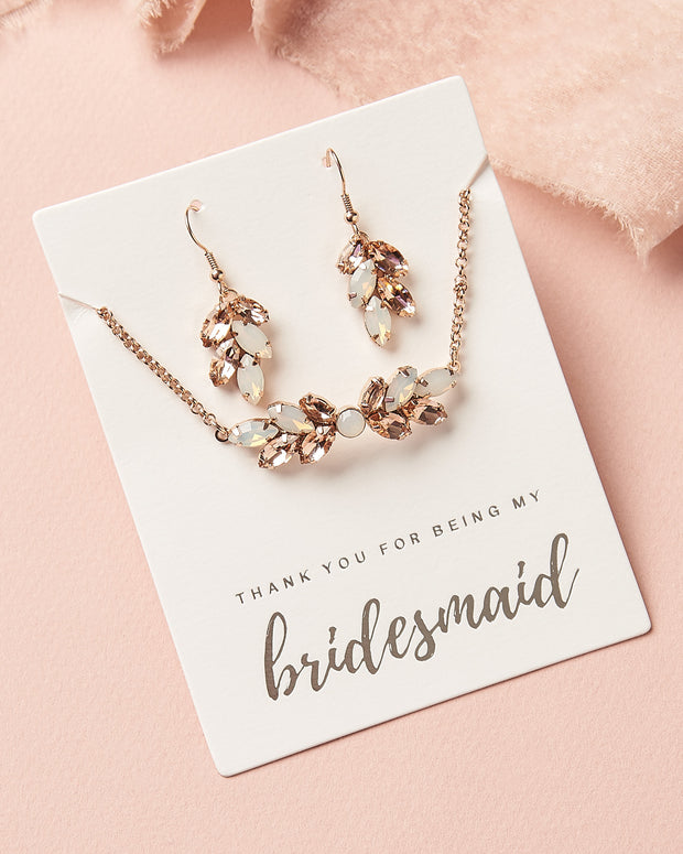 Crystal Leaf Earrings & Bracelet Bridesmaid Set