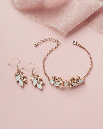 Opal & Rose Gold Crystal Earrings & Bracelet Jewelry Set