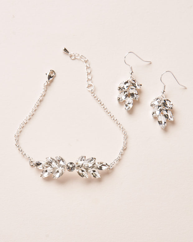 Silver Crystal Bracelet & Earrings Wedding Jewelry Set