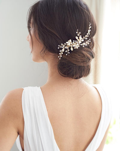 Gold Freshwater Pearl Wedding Comb