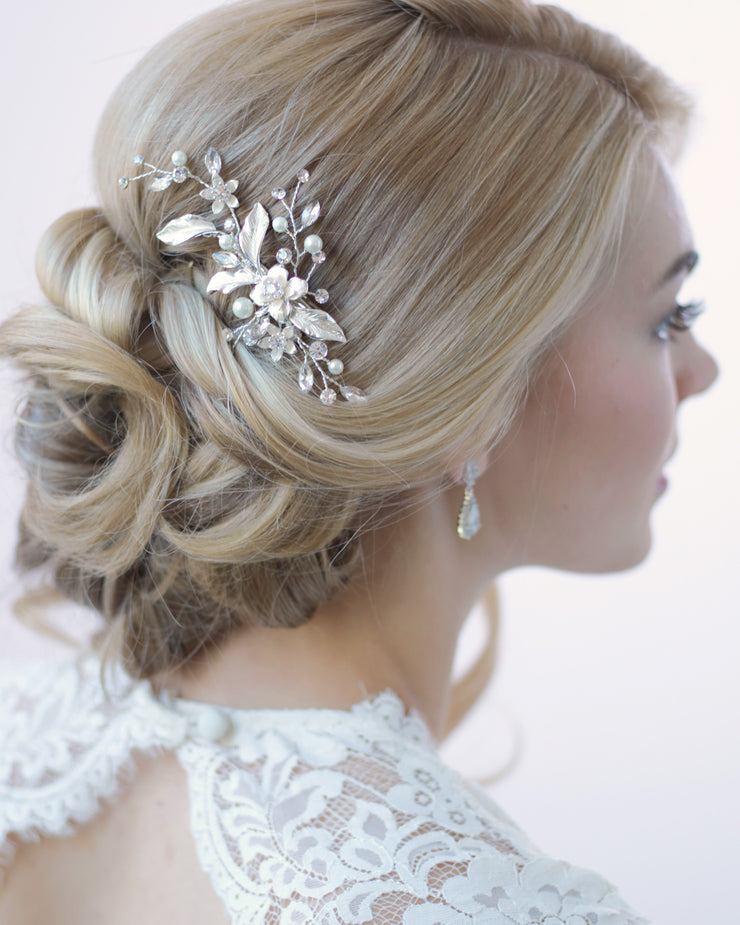 Silver Petite Pearl & Floral Wedding Day Hair Clip