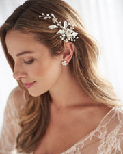 Classic Silver Floral & Pearl Bridal Hair Clip Side Swept Hairstyle