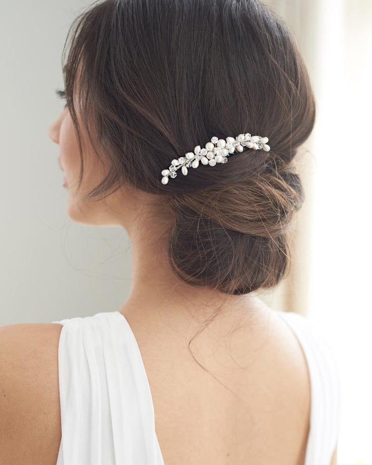 Crystal Gemstone and Pearl Bridal Comb