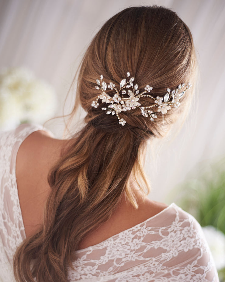 Gold Pearl & Crystal Wedding Day Hair