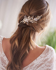 Gold Crystal & Floral Wedding Hair Clip