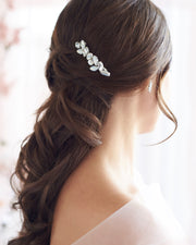 Silver Opal & Crystal Gemstone Wedding Hair Comb