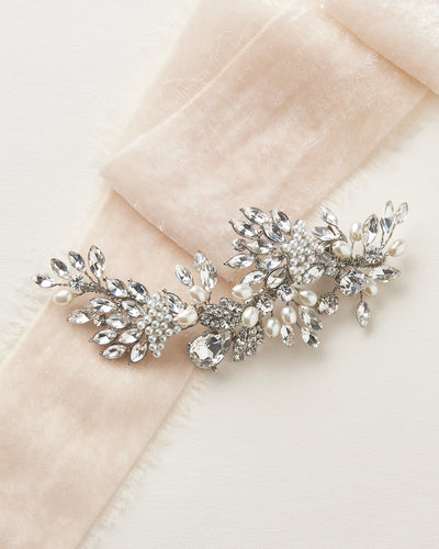 Antique Silver Pearl & Crystal Vintage Inspired Bridal Hair Clip