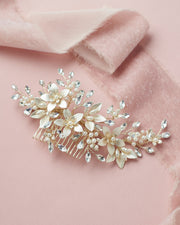 Gold Floral Pearl & Crystal Bridal Hair Comb