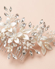 Silver Pearl & Crystal Floral Wedding Hair Comb