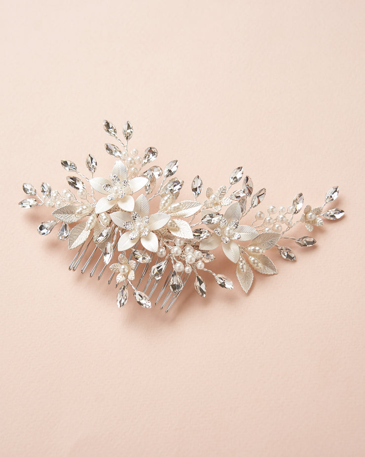 Silver Floral Pearl & Crystal Bridal Comb