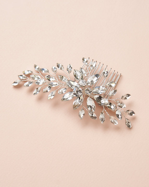 Floral Silver Crystal Bridal Comb