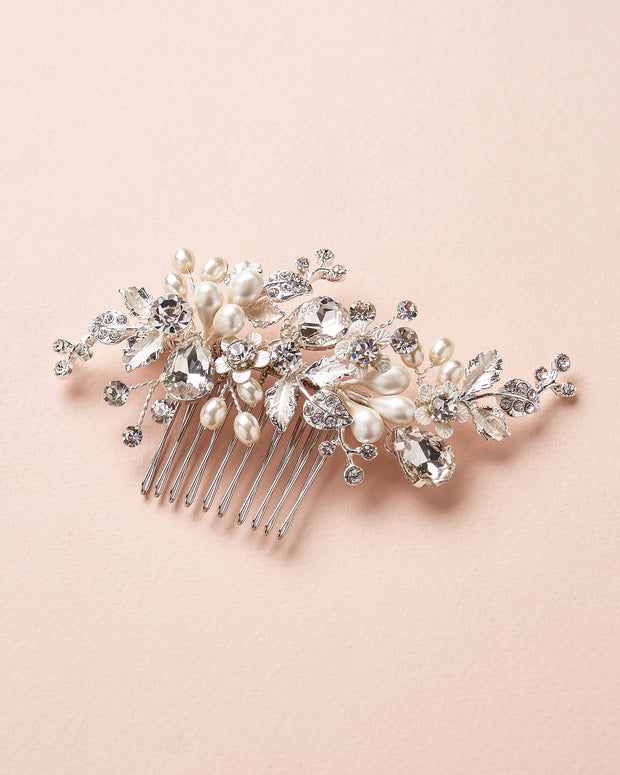 Silver Pearl & Crystal Floral Bridal Comb