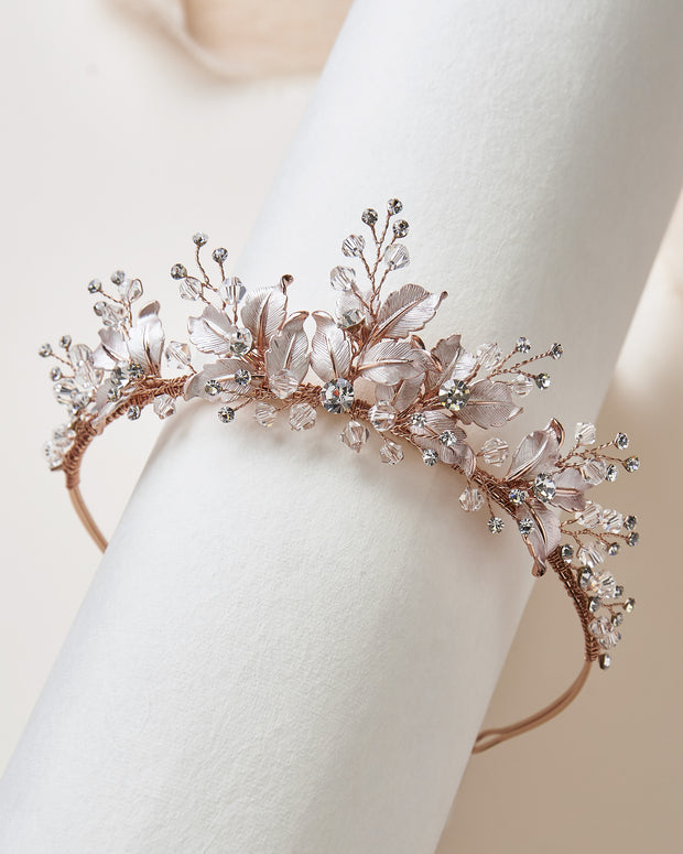 Rose Gold Floral Tiara
