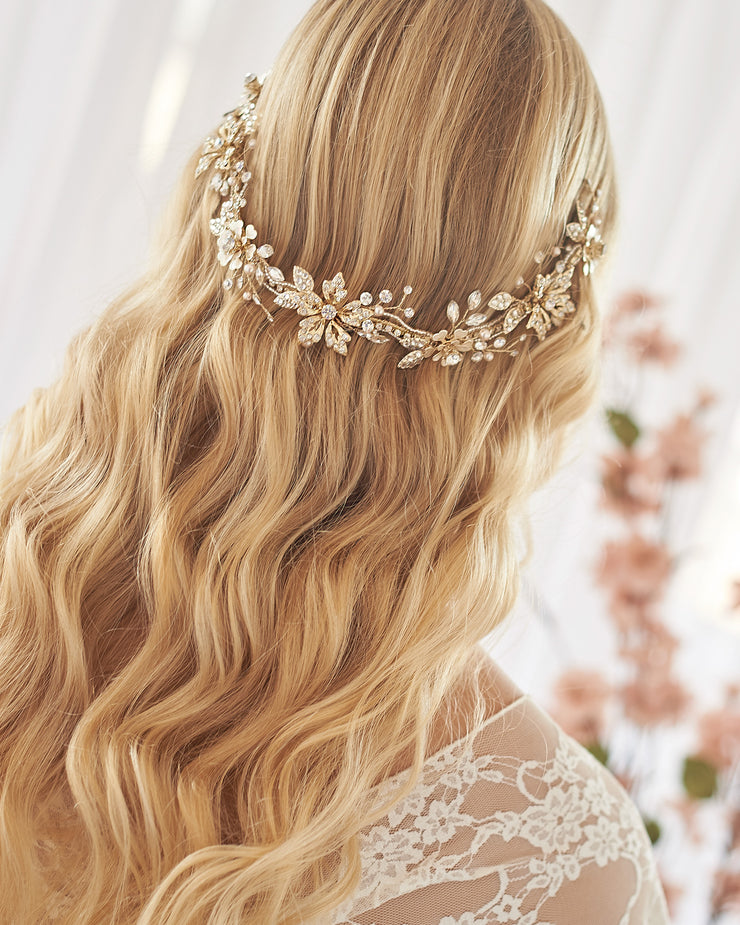 Gold Floral Headpiece Wedding