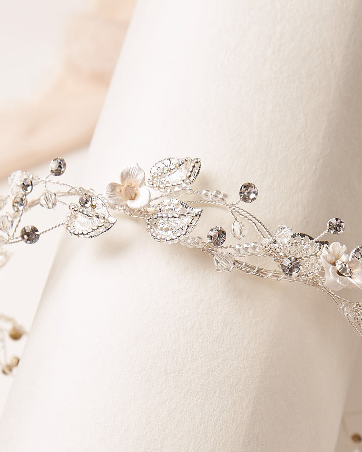 Floral & Beaded Silver Wedding Headpiece
