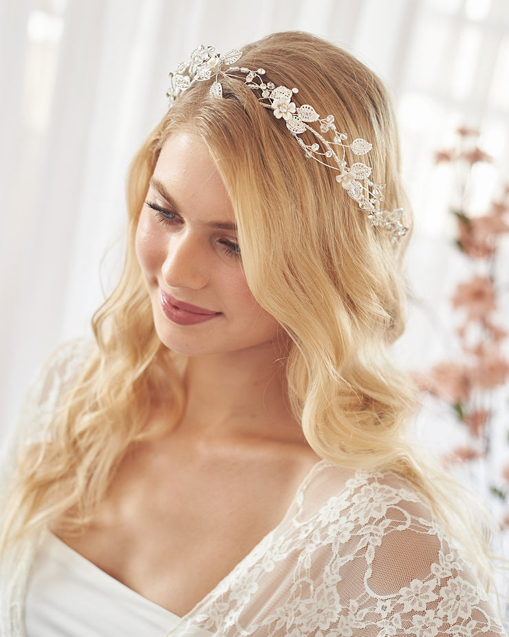 Silver Floral & Beaded Wedding Headpiece