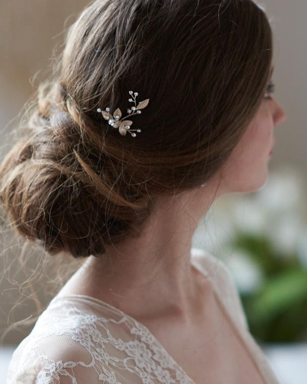 Crystal Gemstone Silver Bridal Hair Pin