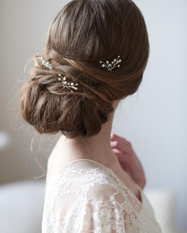 Crystal Gemstone and Pearl Bridal Hair Pins