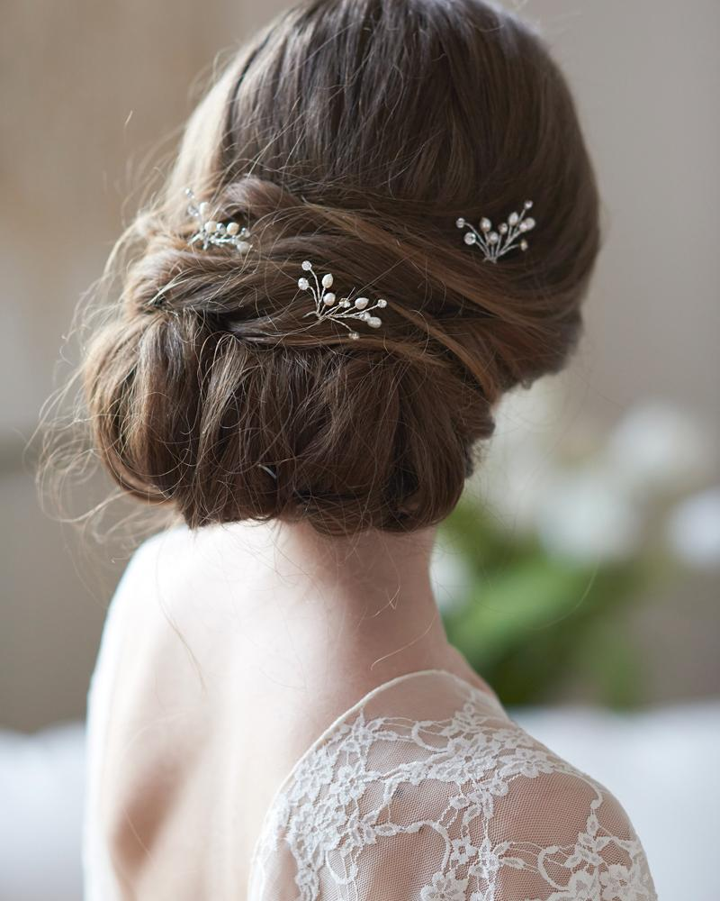 Pearl and Crystal Gemstone Wedding Hair Pins