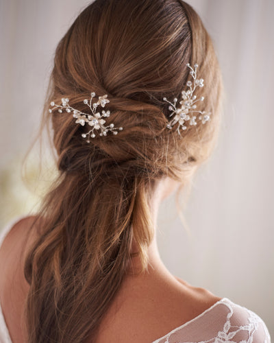 Silver Pearl & Floral Wedding Hair Pins