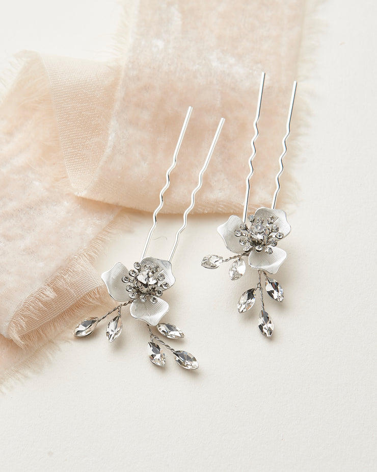 Silver Floral Bridal Hair Pins